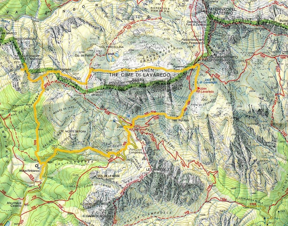 Cartina 3 Cime Di Lavaredo.28 09 2013 Arghena Tre Cime Gli Arditi Di San Lorenzo